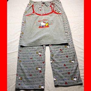 EUC Vintage Hello Kitty School Print Pajama Set